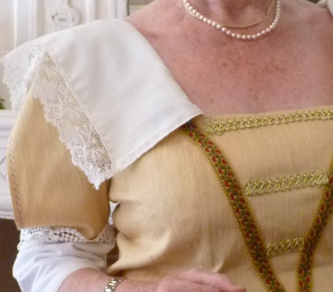 Detail of the Lady of Armanville's costume