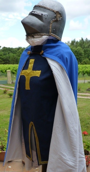 Detail of the Blue caped crusader knight's costume