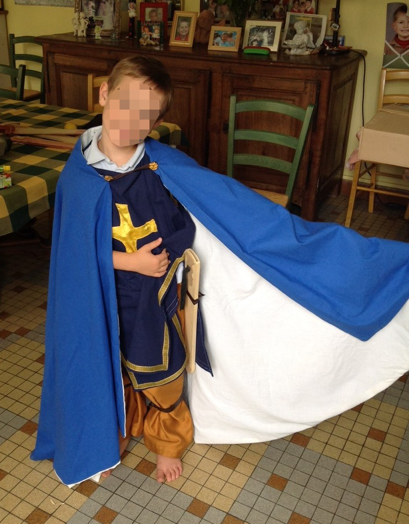 Blue caped crusader knight's costume
